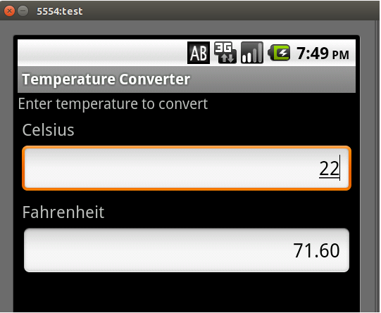 TemperatureConverter executándose no emulador Android en local.